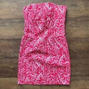 Lilly Pulitzer Franco Strapless Dress Pink White 0